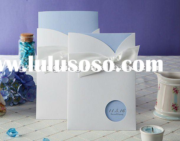 Elegant Light Blue Wedding Cards With Nice Bow --------EA739
