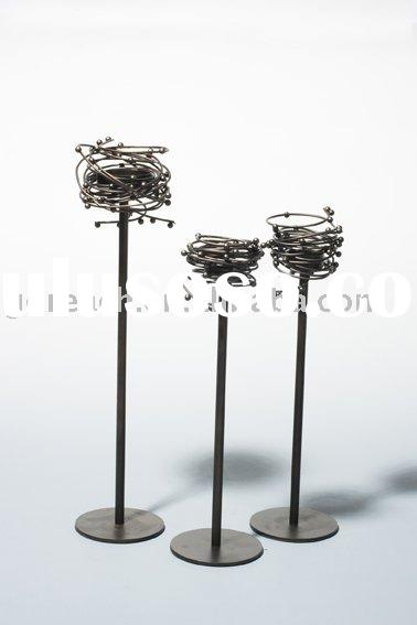 Metal candle holder, iron candlestick, aluminum candle stand of birds' nest