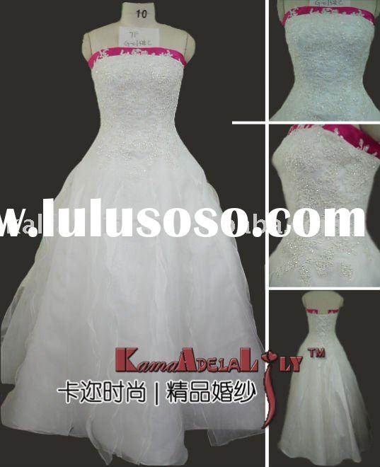 1325C Ball gown hand beading red and white wedding dress bridal gown