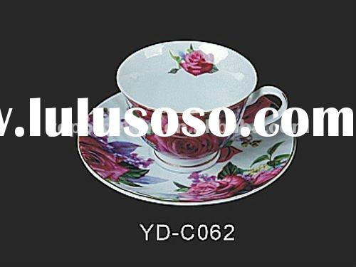 200ml Ceramic cup and saucer in flower design CMYK decal