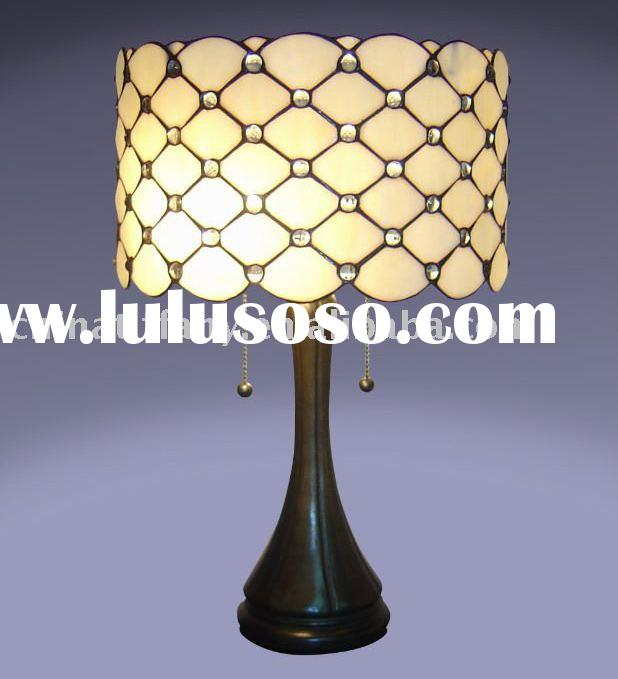 "tiffany lamp;stained glass lamp;tiffany art glass table lamp;16"" Tiffany Jeweled Table Lamp"