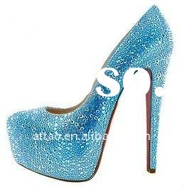 2012 sky blue shining diamond high heel pumps red sole
