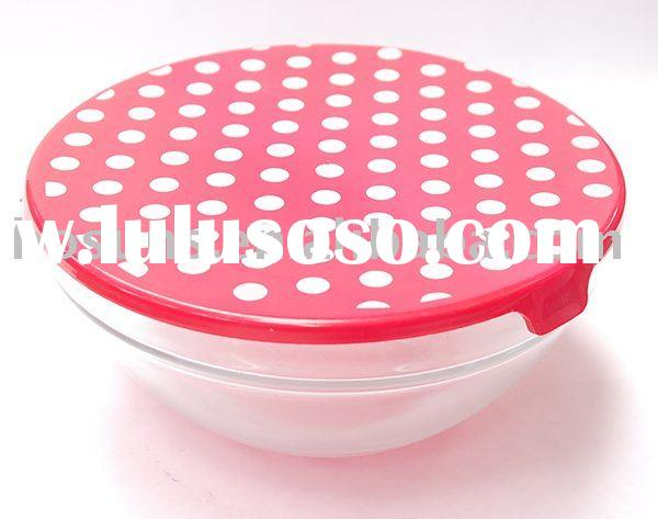 Glass food bowl with lid
