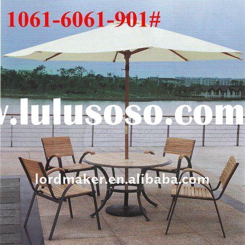 Outdoor bamboo furniture of outdoor furniture umbrella table chairs set (1061#-6061#-901#)