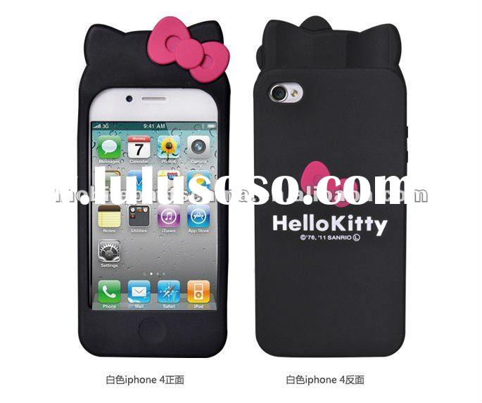doublebowknot lovely design cover cell phone case silicone hello kitty case for iphone 4 and 4s