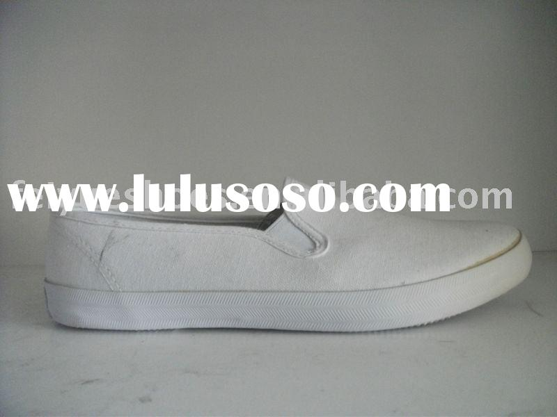 simple white casual canvas slip-on shoes