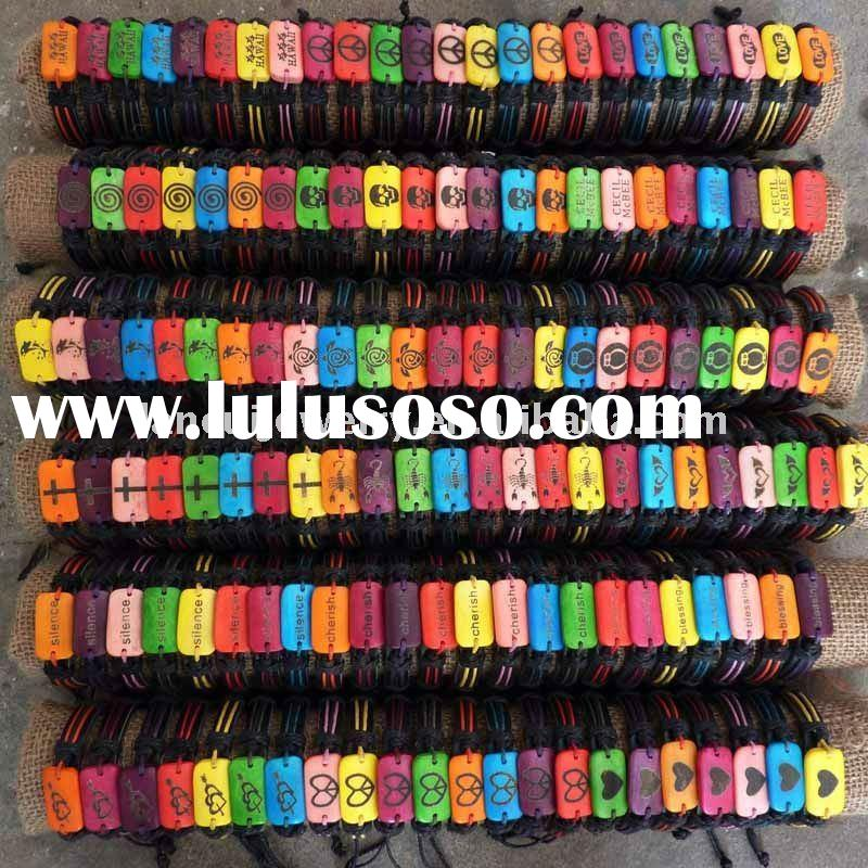 Colorful and plenty bracelet bone engraved designs leather bangles jewelry with braided cord