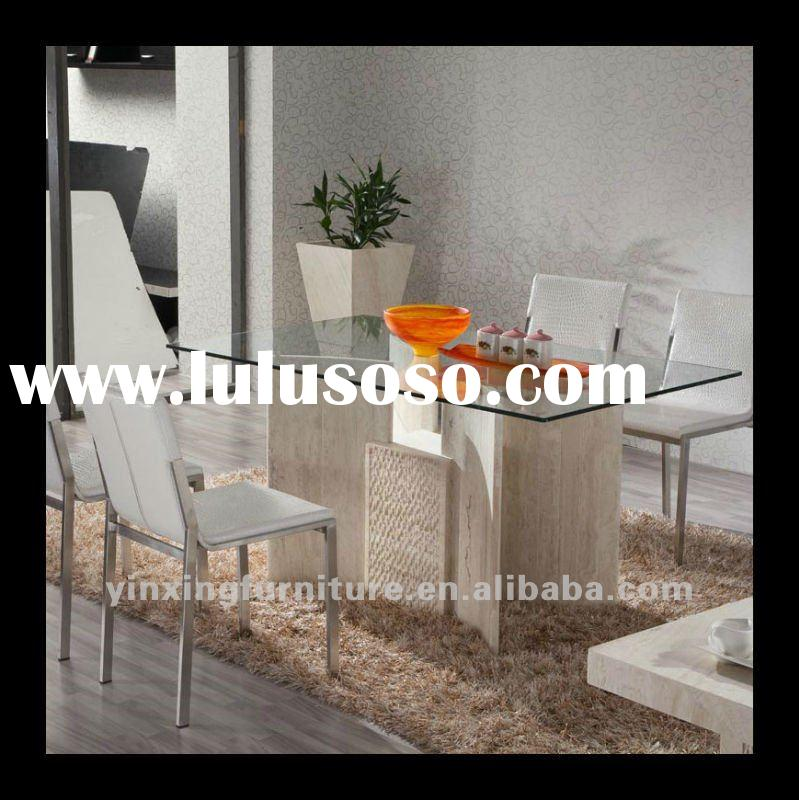 Glass Top & Marble Base Dining Table D1102
