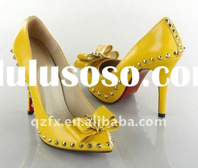 Yellow leather high heels women shoes with rivets