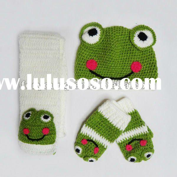 kids funny animal frog knitted hat scarf glove set