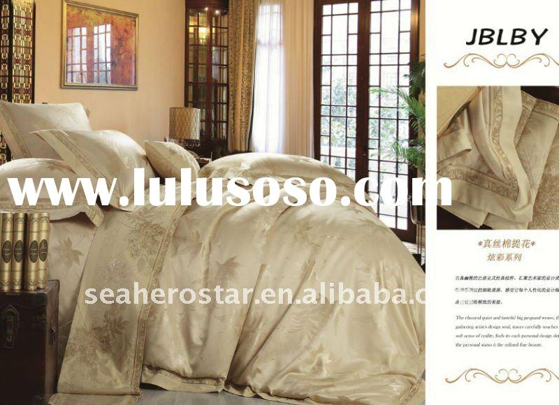 luxury silk cotton jacquard bedding cover / bedding sets / bed sheet