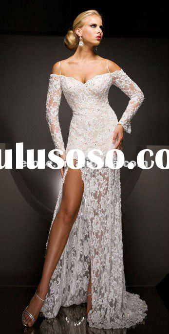 New Style EV-001 Spaghetti Straps Lace Long Sleeve Evening Dress