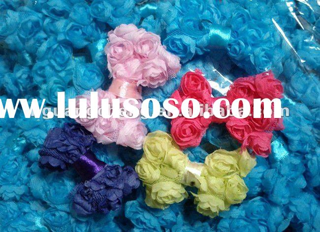 fashion chic handmade chiffon guipure lace fabric shabby rose flower lace trim hair bow wholesale