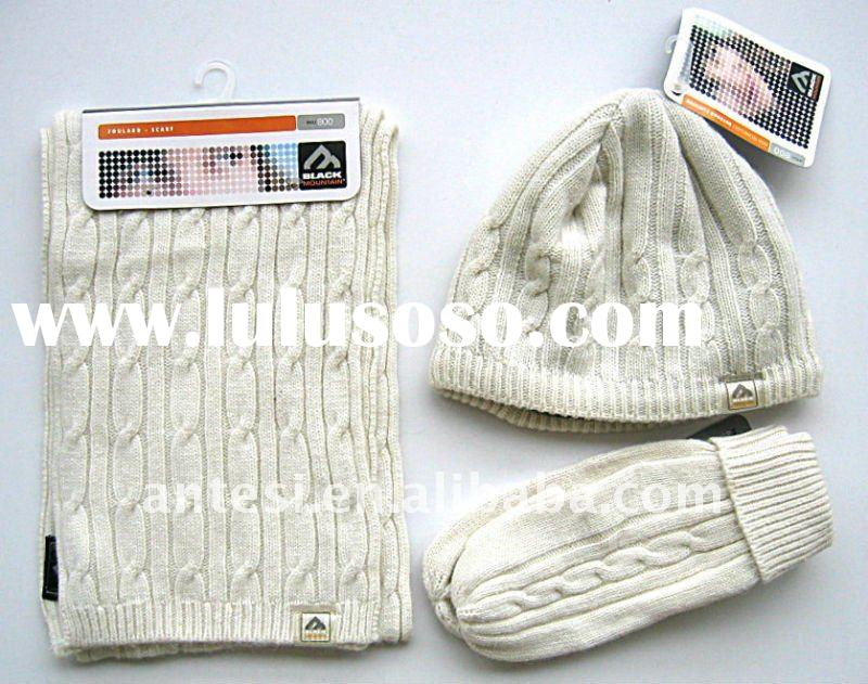 30% wool 70% acrylic knitted scarf, hat & glove sets