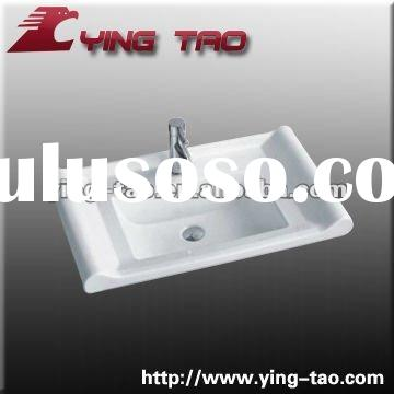 Bathroom cabinet ceramic single faucet hole one piece white hand wash basin