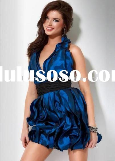 Royal Blue A-Line Halter Taffeta Short Prom Dress