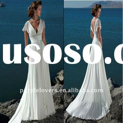 Beach casual Beaed V Neck Short sleeves wedding dress