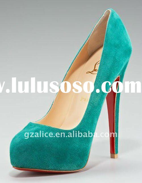 CL144 New style suede leather red sole high-heel dress shoes light blue