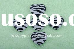 2011 fashion Bulk Twist zebra stripe heart shape acrylic beads for jewelry wholesale!!