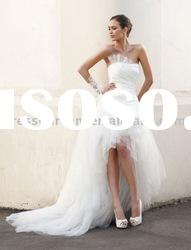 Taffeta and tulle front short and long back wedding dress
