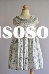 2012 100% cotton grey girls floral summer dress ,child clothing,European material,festival clothes