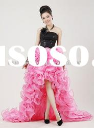 HTM0190 Black and Pink Front Short and Long Back Wedding Dress