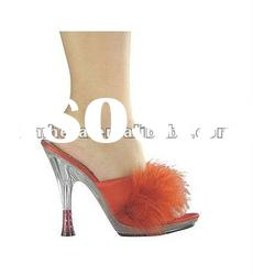 transparent sole high rhinestone heel slipper with satin and feather SW1148 /ladies shoes