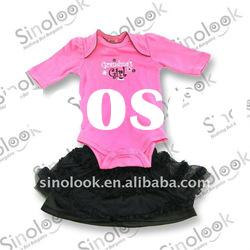 2011 100% cotton long sleeve baby girl rompers and skirt clothing sets 2A371-3