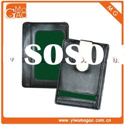 Fashion magnetic metal money clip silver leather card holder small coin wallet
