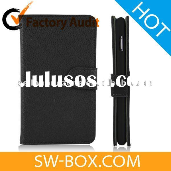 Magnetic Wallet Style Leather Case For Samsung Galaxy Note i9220 - Black
