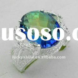 China jewelry wholesale 925 sterling silver plated mystic topaz diamond wedding rings