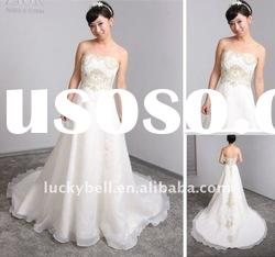 Conservative Applique Sleeveless White Wedding dress