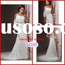 Fashion W-1093 one shoulder trumpet chiffon bridal wedding gown