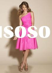 Salable Royal Hot Pink Organza One Shoulder Short Bridesmaid Dress