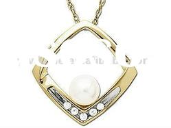 Diamond White Pearl Necklace Pendant / 14K Gold Crystal Pendant/Sea Jewelry