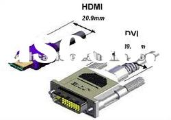 HDMI to DVI Cable with 24K Gold Plated Connector, OEM Orders are Accepted
