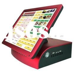 "15""Touch screen POS/ cash register, red color touch screen monitor with fashionable appearance"