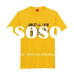 Yellow cotton t shirt with printing