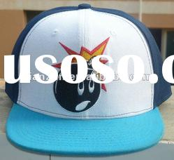 wholesale 100 cotton custom design embroidery plain flat brim snapback baseball hat