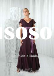 Elegant cap sleeve style long mother of bride dress ( ABB086)