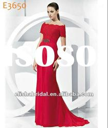 Princess Off the shoulder Scalloped-Edge Neckline Red Lace Chiffon Evening Dress With Sleeves 2012