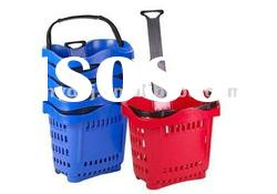 YD-050 Plastic Rolling Shopping Basket With Two Wheels,50L
