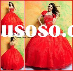 PYN2158 2012 Red Glamorous Strapless Organza Ball Gown prom quinceanera dresses
