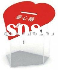 heart shaped red acrylic donation box with customer's logo
