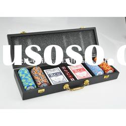 100 pc poker chip set With Black Wooden Case