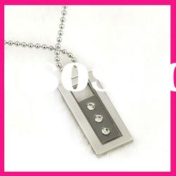 fashion stainless steel square ball chain necklace rhinestone setting pendant