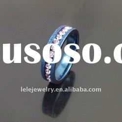 fashion blue stainless steel rings jewellery with pink crystal