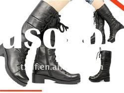 2012 Genuine leather boots, black Combat boots for women