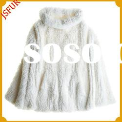 Fashion white rex rabbit fur knitted cape&knitted poncho
