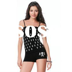 New Fashion Seamless Spaghetti Strap Camisole and Panty Set Basic Tank Top Punk Skull Head